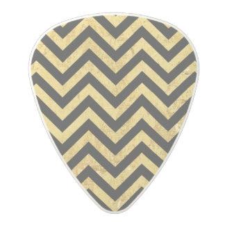 Black and Gold Foil Zigzag Stripes Chevron Pattern Polycarbonate Guitar Pick