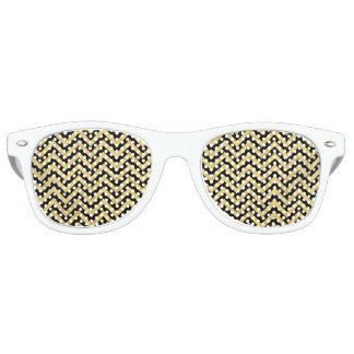 Black and Gold Foil Zigzag Stripes Chevron Pattern Retro Sunglasses
