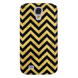 Black and Gold Foil Zigzag Stripes Chevron Pattern Samsung Galaxy S4 Covers