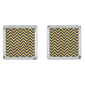 Black and Gold Foil Zigzag Stripes Chevron Pattern Silver Finish Cuff Links