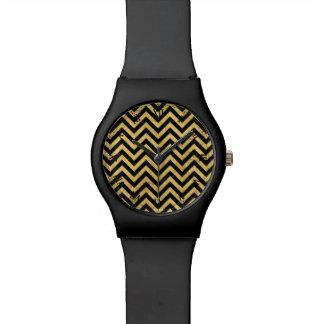 Black and Gold Foil Zigzag Stripes Chevron Pattern Watch