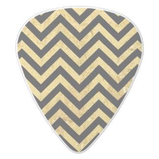 Black and Gold Foil Zigzag Stripes Chevron Pattern White Delrin Guitar Pick