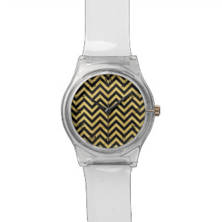 Black and Gold Foil Zigzag Stripes Chevron Pattern Wrist Watch