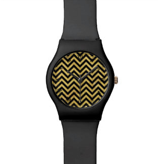 Black and Gold Foil Zigzag Stripes Chevron Pattern Wristwatches