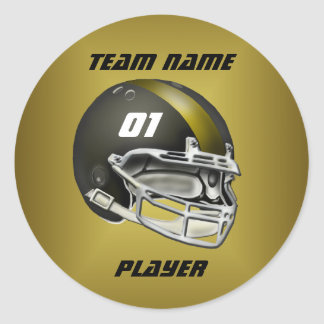 Black and Gold Football Helmet Classic Round Sticker