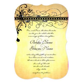 Black and Gold Funky Elegant Swirls Wedding Invite