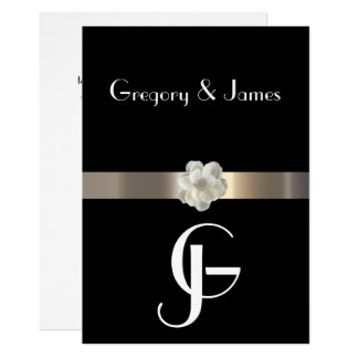 Black and Gold Gay/Lesbian Wedding Invitation