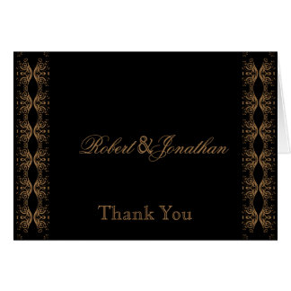 Black and Gold Gay Wedding Thank You Card