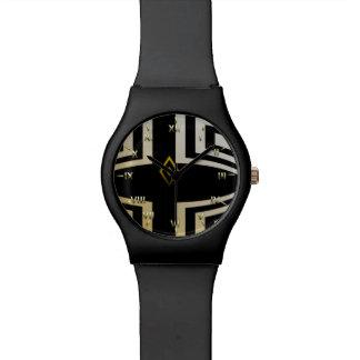 Black and Gold Geo Wristwatch