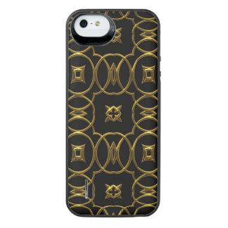 Black and Gold Geometric Pattern Shiny Elegant iPhone SE/5/5s Battery Case