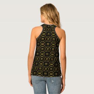 Black and Gold Geometric Pattern Shiny Elegant Singlet