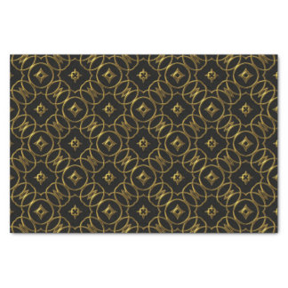 Black and Gold Geometric Pattern Shiny Elegant Tissue Paper
