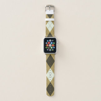Black And Gold Geometric Stripes Argyle Pattern Apple Watch Band