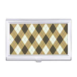Black And Gold Geometric Stripes Argyle Pattern Business Card Holder