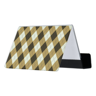 Black And Gold Geometric Stripes Argyle Pattern Desk Business Card Holder