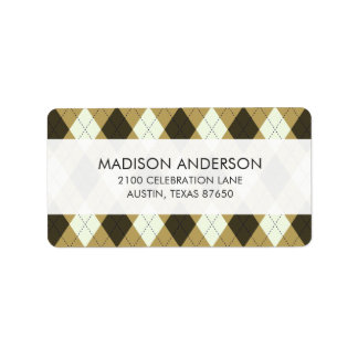Black And Gold Geometric Stripes Argyle Pattern Label
