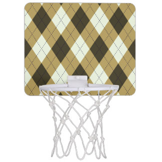 Black And Gold Geometric Stripes Argyle Pattern Mini Basketball Hoop