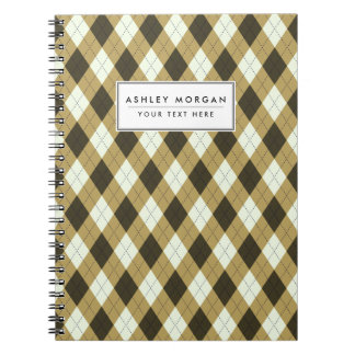 Black And Gold Geometric Stripes Argyle Pattern Notebook