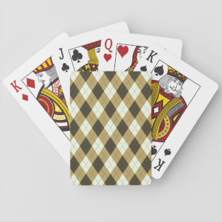 Black And Gold Geometric Stripes Argyle Pattern Playing Cards