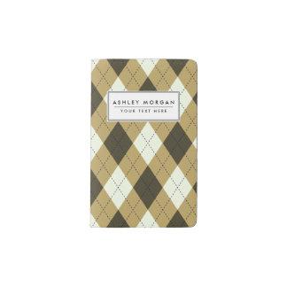 Black And Gold Geometric Stripes Argyle Pattern Pocket Moleskine Notebook
