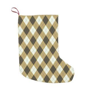 Black And Gold Geometric Stripes Argyle Pattern Small Christmas Stocking