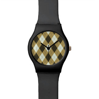 Black And Gold Geometric Stripes Argyle Pattern Watch