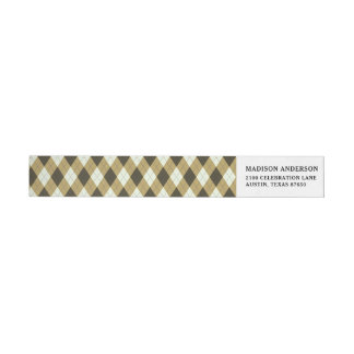 Black And Gold Geometric Stripes Argyle Pattern Wrap Around Label