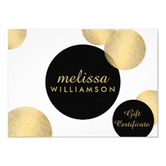 Black and Gold Glamour and Beauty Gift Certificate 11 Cm X 16 Cm Invitation Card