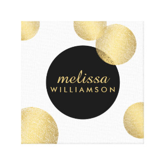 Black and Gold Glamour and Beauty Personalized Stretched Canvas Print