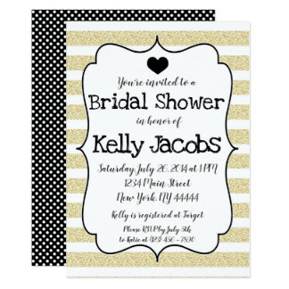 Black and Gold Glitter Bridal Shower Invitation