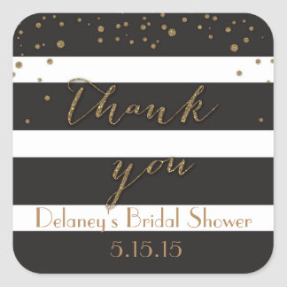 Black and Gold Glitter Bridal Shower Labels Square Sticker
