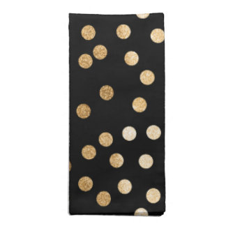 Black and Gold Glitter City Dots Napkin