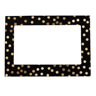 Black and Gold Glitter Dots Magnetic Picture Frame