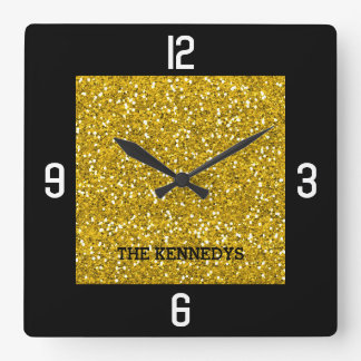 Black And Gold Glitter Family Name Bling Square Wall Clock