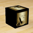 Black and Gold Glitter High Heel Shoe Favour Box