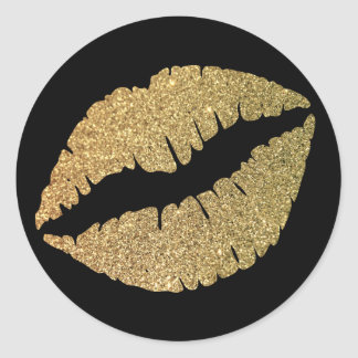 Black and Gold Glitter Lips Round Sticker