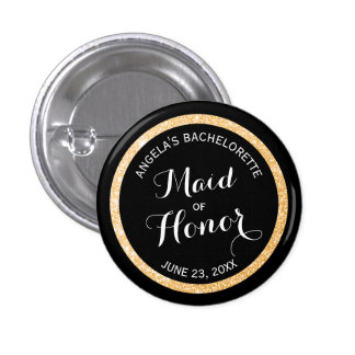 Black and Gold Glitter Maid of Honor Bachelorette 3 Cm Round Badge