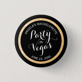 Black and Gold Glitter Party in Vegas Custom 3 Cm Round Badge
