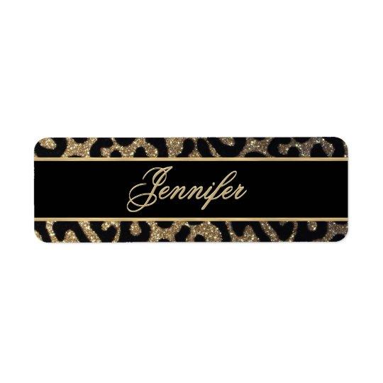 Black and Gold Glitter Return Address Label
