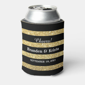 Black and Gold Glitter Stripes | Wedding Can Cooler