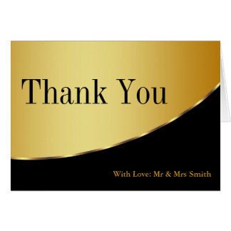 Black and Gold Glitter Thank You Card