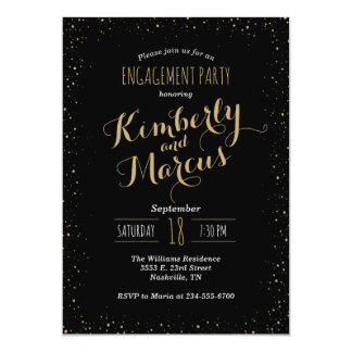 Black and Gold Glitz Engagement Party Invitation
