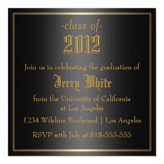 Black and Gold Graduation 13 Cm X 13 Cm Square Invitation Card