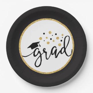 Black and Gold Graduation Confetti Grad 2017 9 Inch Paper Plate