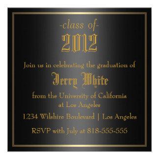 Black and Gold Graduation Personalized Invitations