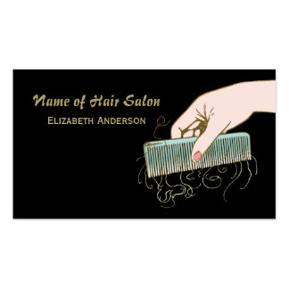 Black and Gold Hair Salon Vintage Comb and Curls Business Cards