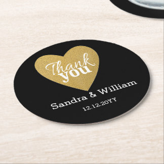 Black And Gold Heart Love & Thank You Wedding Round Paper Coaster