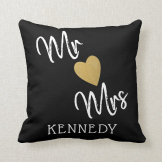 Black And Gold Heart Mr And Mrs Cushion