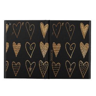 Black and Gold Hearts Custom iPad Air 2 Case