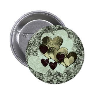 Black and Gold Hearts Pin